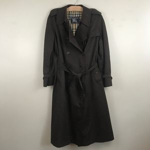 Vintage Burberry Burberrys Brown Trench Coat Plaid